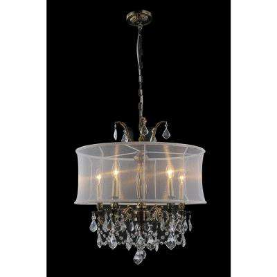 Halo 5-Light Antique Brass Chandelier with White Shade