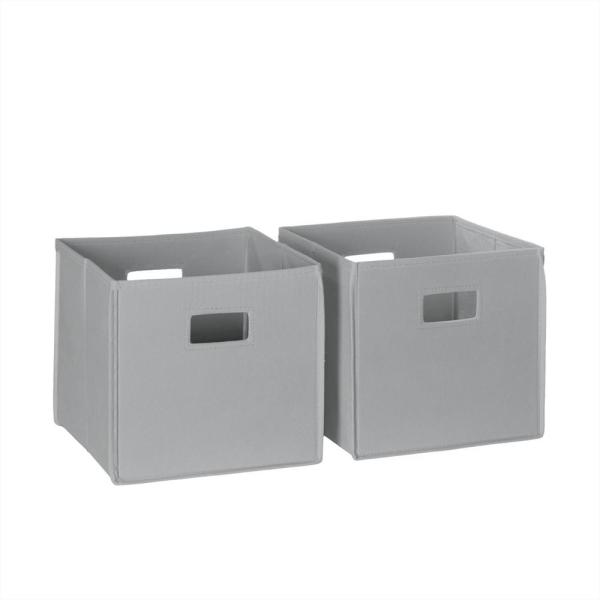 10.5 in. x 10 in. Folding Storage Bin Set in Gray (2-Piece)