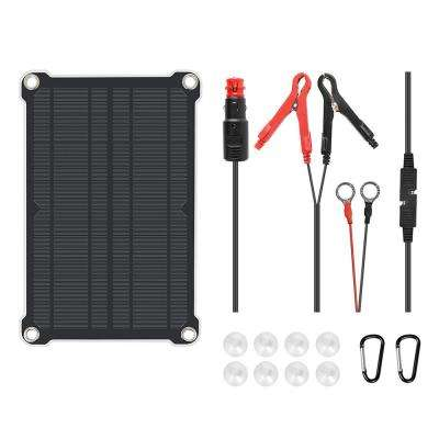 8-Watt x 12-Volt Outdoor Portable Monocrystalline Solar Panel Battery Maintainer Trickle Charger