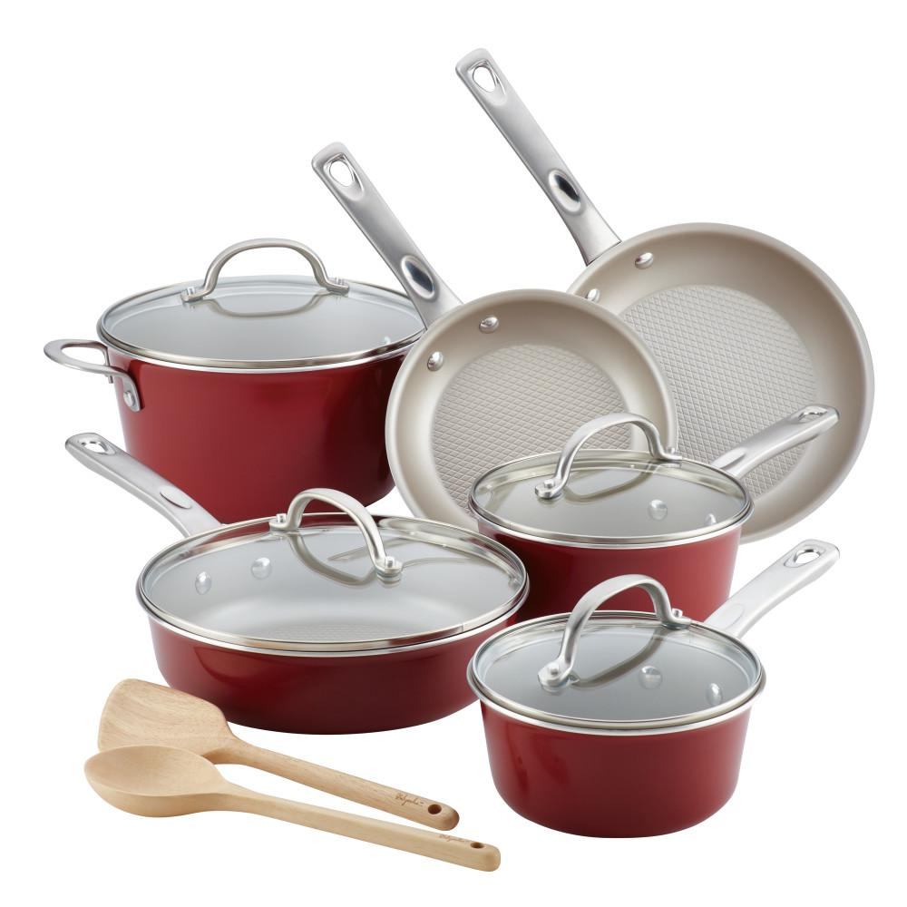 Home Collection 12-Piece Sienna Red Porcelain Enamel Nonstick Cookware Set