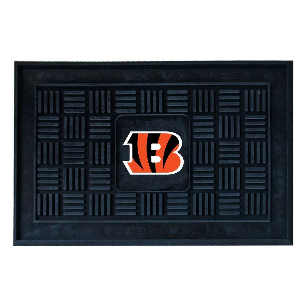 NFL Cincinnati Bengals Black 19 in. x 30 in. Vinyl Outdoor Door Mat