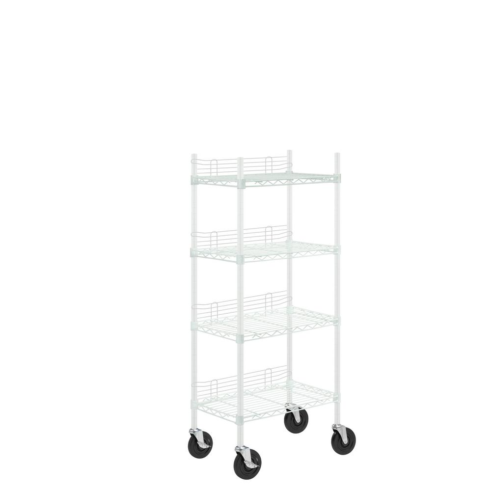 4-Tier Steel Shelving Unit with Side Screens and Casters in White