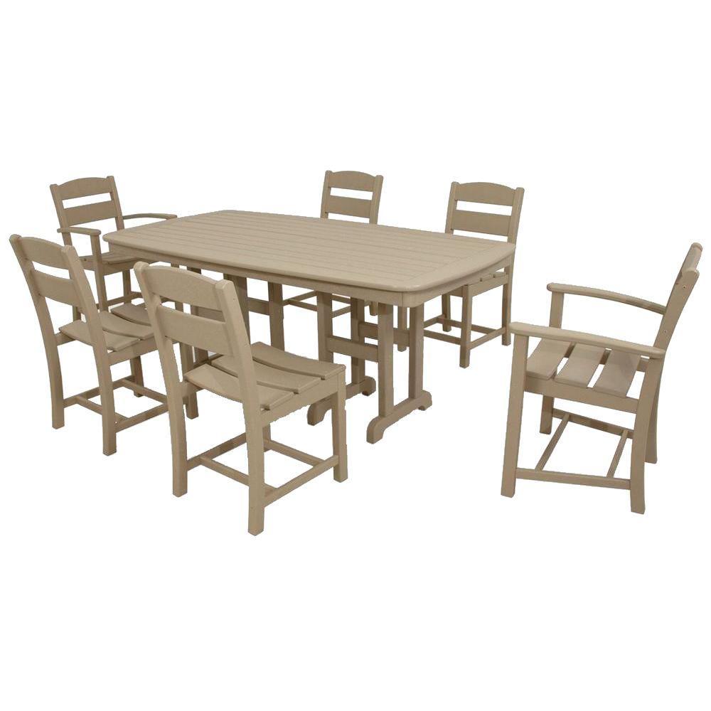 Classics Sand 7-Piece Plastic Outdoor Patio Dining Set