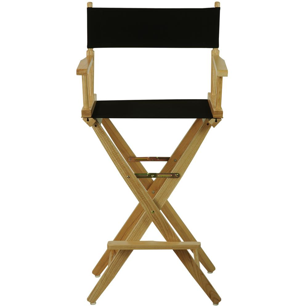 Extra Wide Natural Wood Frame Black Canvas Seat Folding Directors Chair