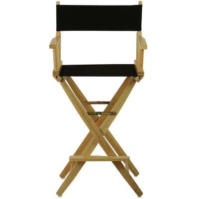 30 in. Extra-Wide Natural Wood Frame/Black Canvas Seat Folding Directors Chair