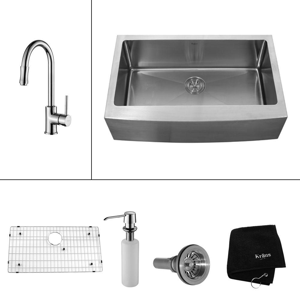 KRAUS All-in-One Farmhouse Apron Front Stainless Steel 33 in. Single Basin Kitchen Sink with Faucet and Accessories in Chrome