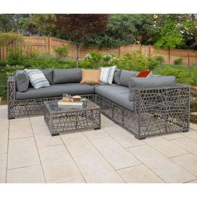 4-Piece Wicker Patio Sectional Seating Set with Grey Cushions