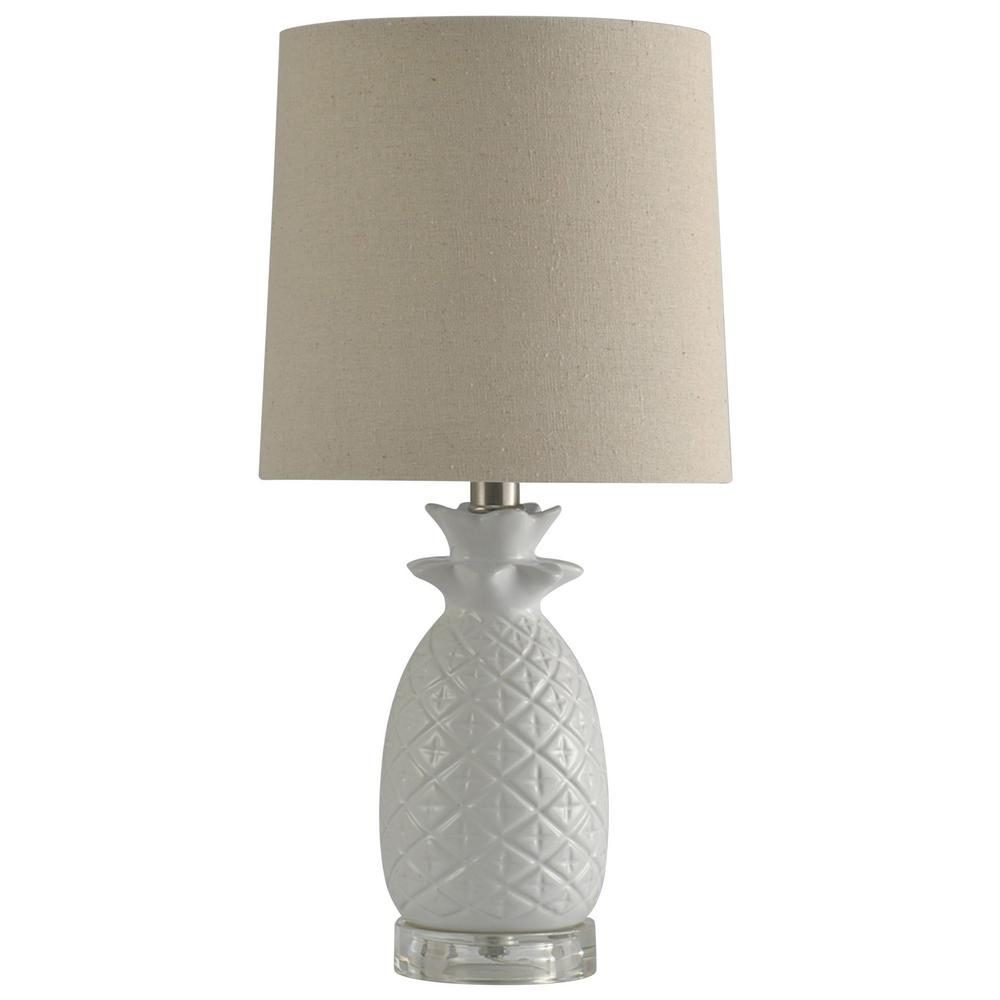 18.3 in. White Table Lamp with White Hardback Fabric Shade