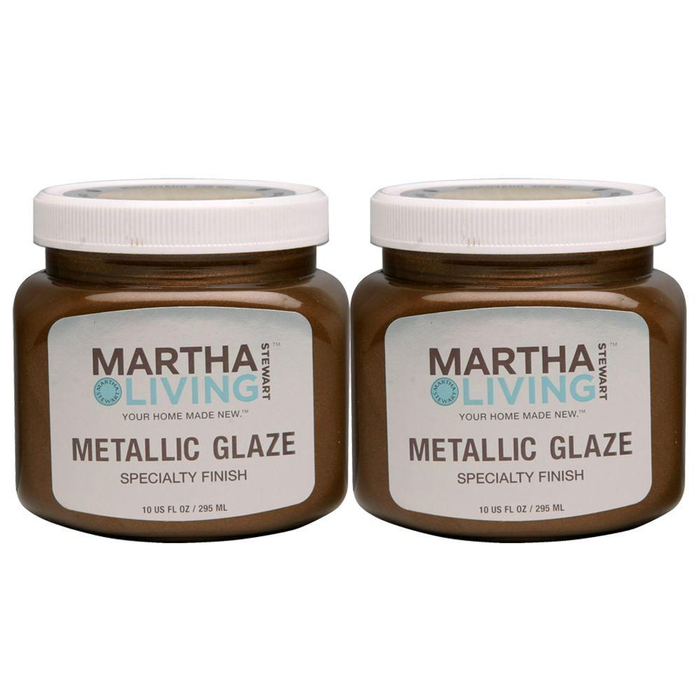 Martha Stewart Living 10 oz. Muscovado Metallic Glaze Paint (2-Pack)-DISCONTINUED