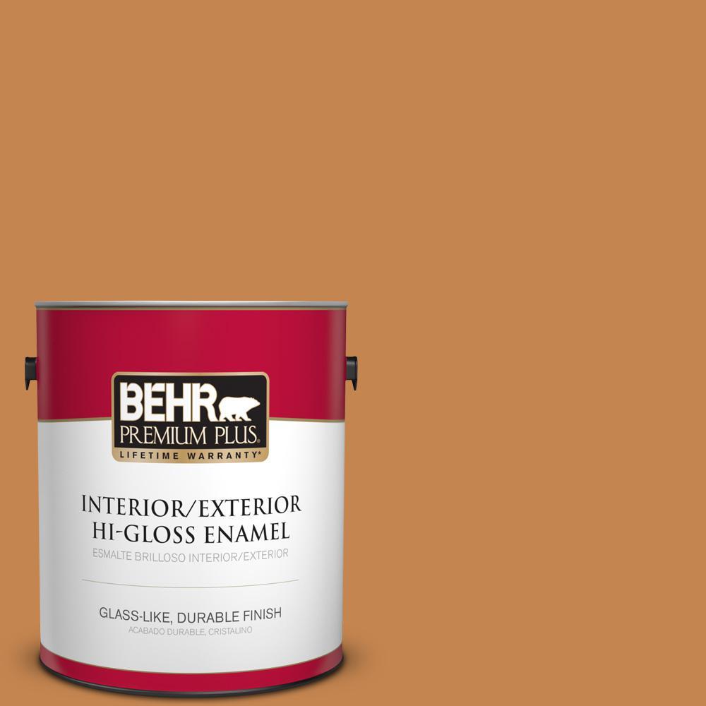 1 gal. #PPU4-03 Butter Rum Hi-Gloss Enamel Interior/Exterior Paint