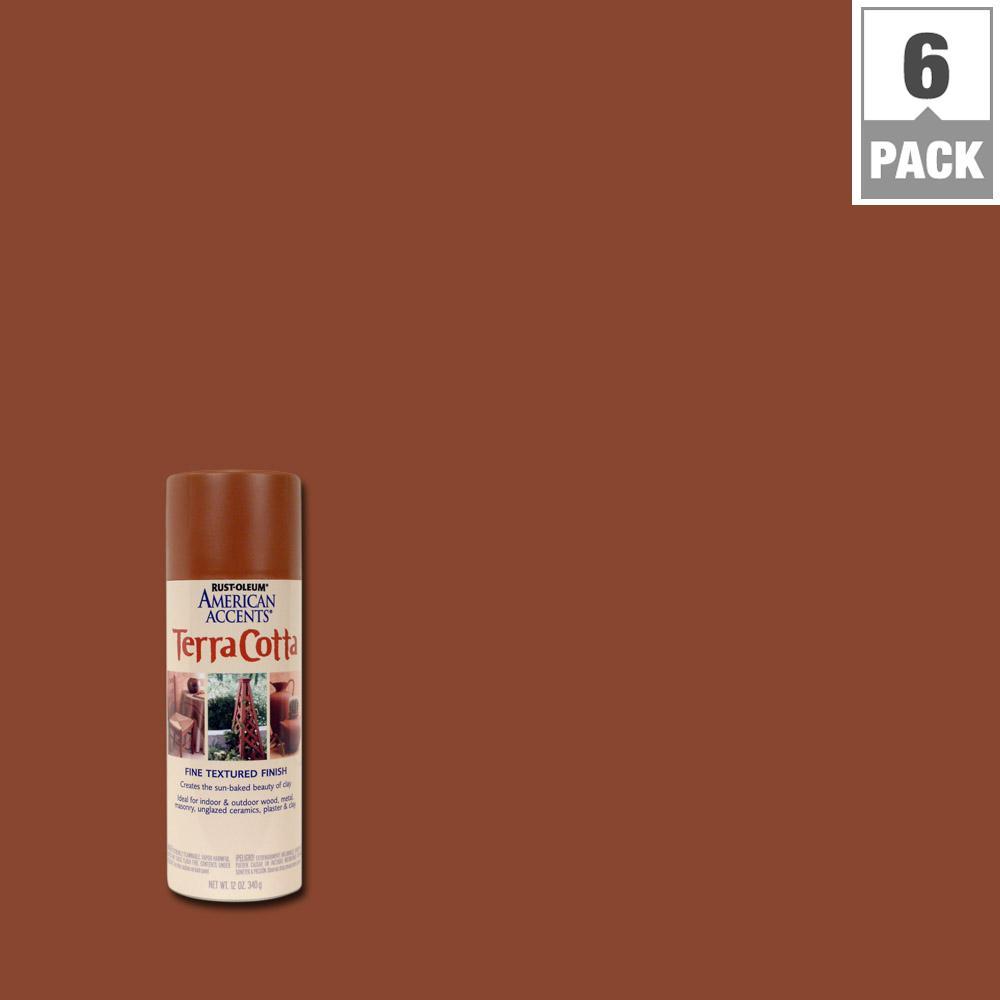 Rust-Oleum American Accents 12 oz. Terra Cotta Flat Clay Pot Spray Paint (6-Pack)