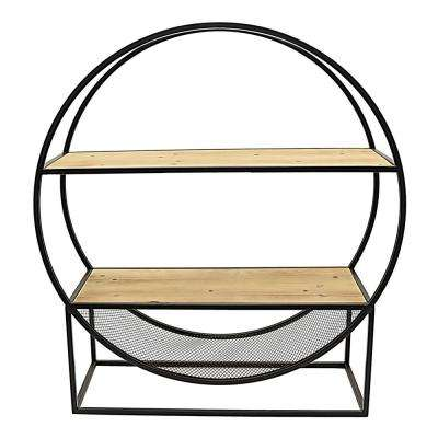 31.25 in. x 10 in. Metal Rack with Wood Shelves in Brown