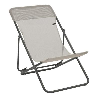 Maxi Transat Seigle Beige Steel Folding French Style Lawn Chair