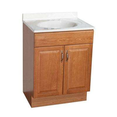 24 in. Vanity in Oak with AB Engineered Composite Vanity Top in White with White Basin