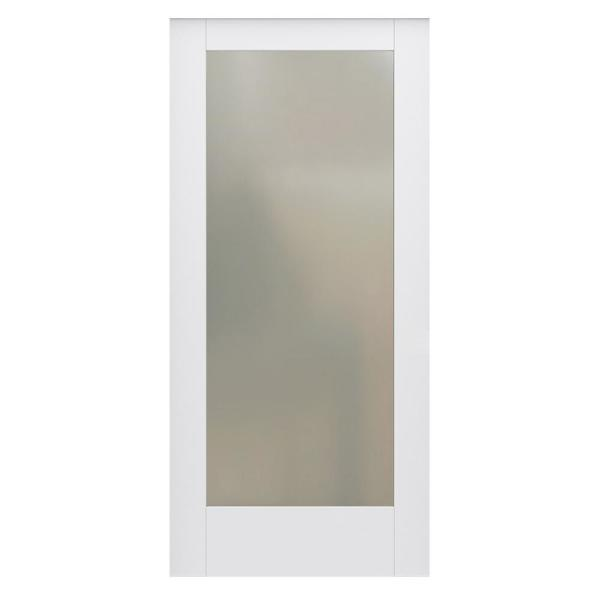 36 in. x 80 in. DesignGlide MODA Primed PMT1011 Solid Core Wood Interior Barn Door Slab with Translucent Glass