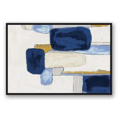 32 in. x 48 in. ''Watercolor Blue Abstract Squares'' Printed Framed Canvas Wall Art