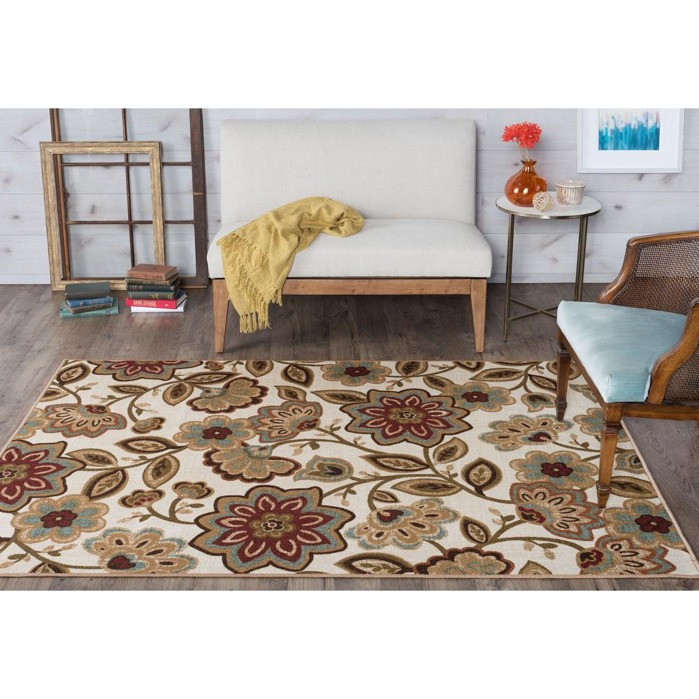 Majesty Cream 5 ft. x 7 ft. Transitional Area Rug