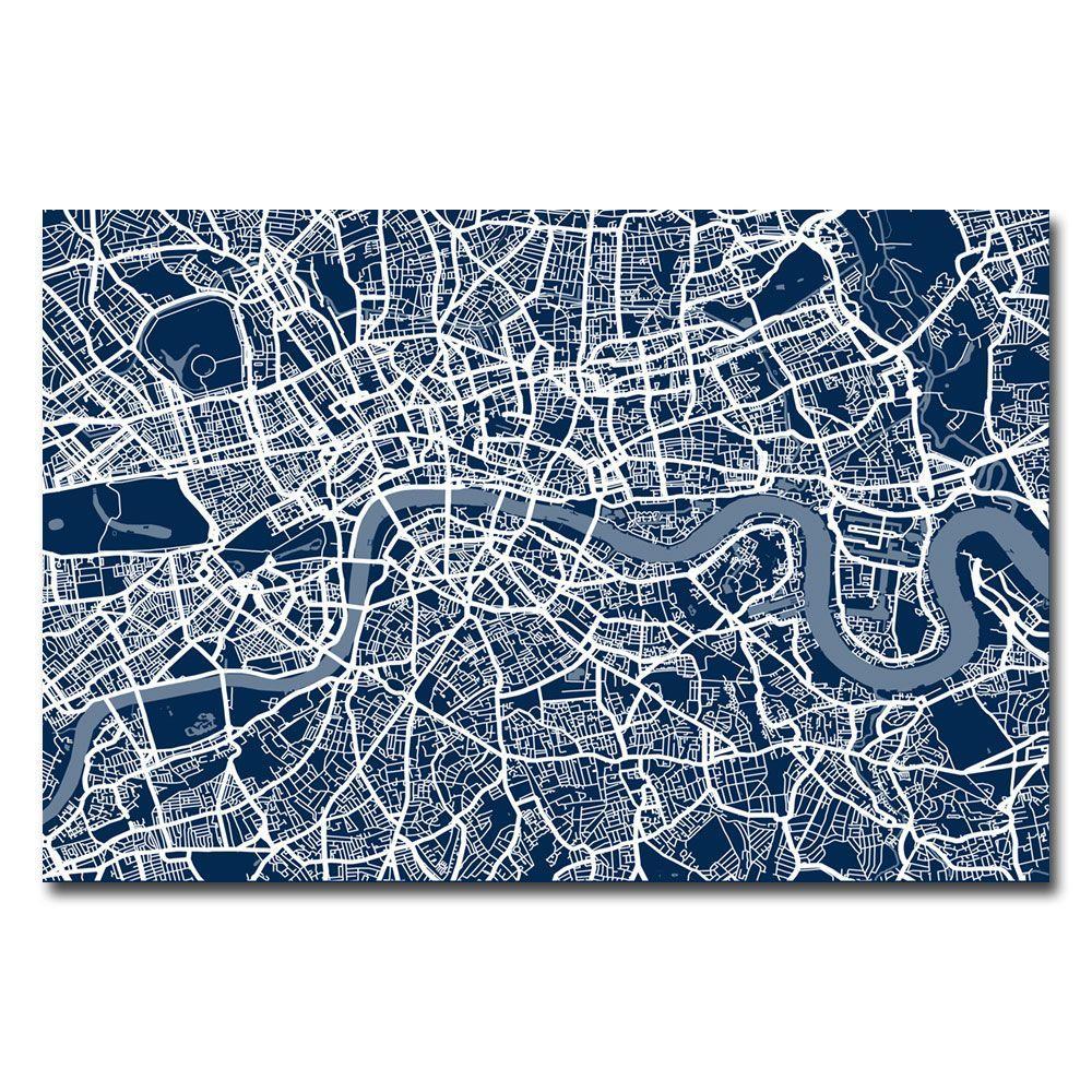 30 in. x 47 in. London Street Map III Canvas Art