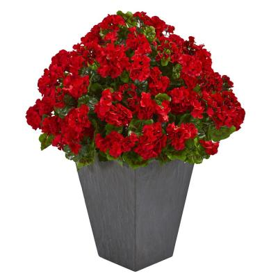 Indoor/Outdoor UV Resistant Red Geranium Artificial Plant in Slate Plater