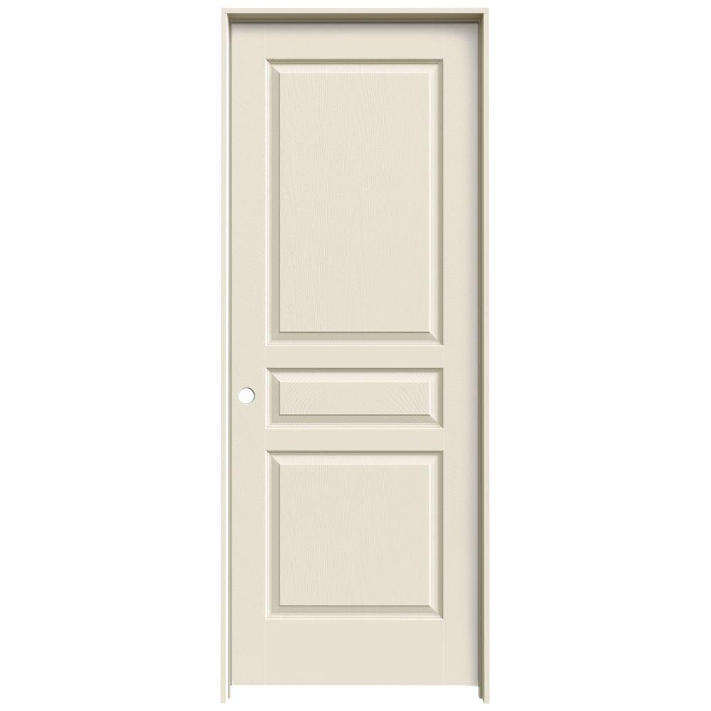 JELD-WEN 28 in. x 80 in. Avalon Primed Right-Hand Textured Hollow Core Molded Composite MDF Single Prehung Interior Door