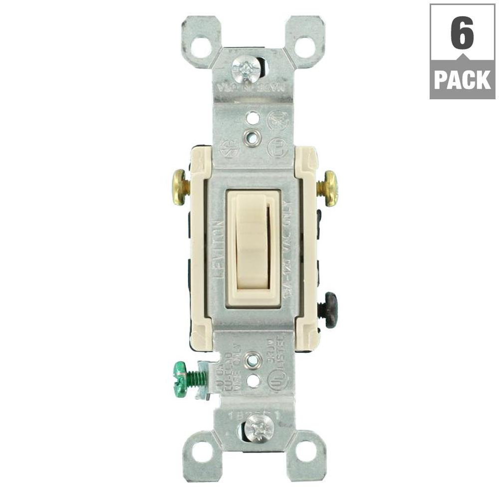 leviton 15 amp 3-way toggle switch, light almond (6-pack)