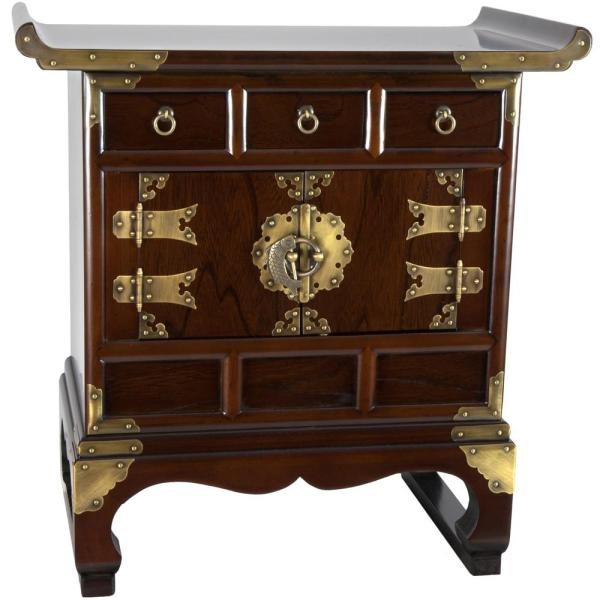 Oriental Furniture Korean Brown End Table KRN-B-1