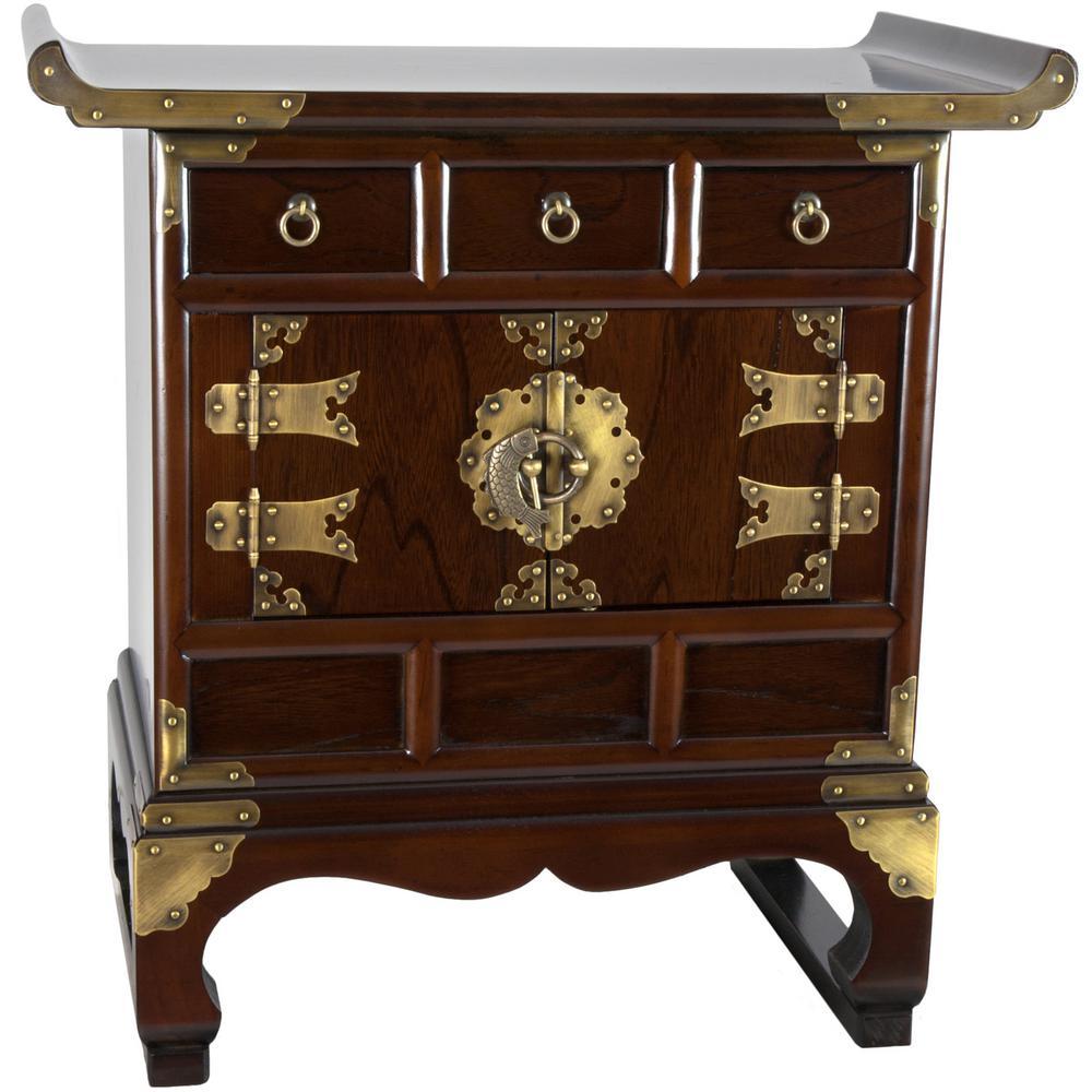 Oriental Furniture Korean Brown End Table