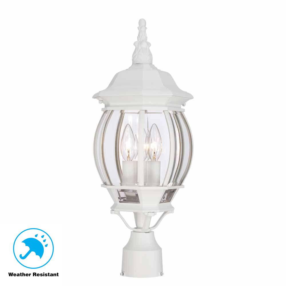 Outdoor Electric Lamp Post: Hampton Bay 3-Light White Outdoor Post Light-HB7029-06