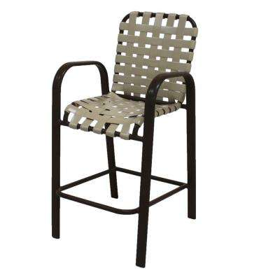 Marco Island Dark Cafe Brown Commercial Grade Aluminum Bar Height Patio Dining Chair with Putty Cross Vinyl Straps