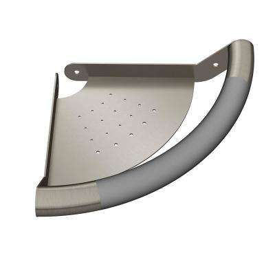 ErgoCornerBar with Ergonomic Soft Grip and Corner Shelf in Brushed Stainless Steel