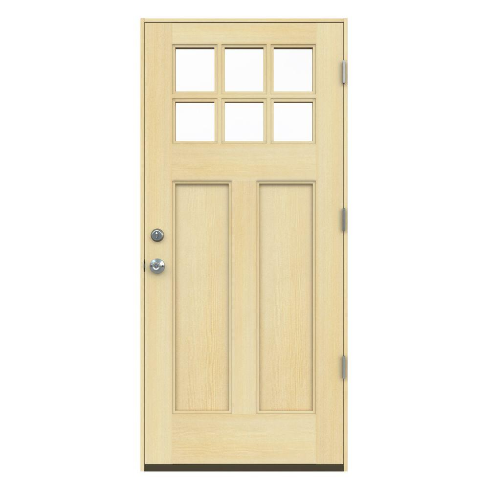JELD-WEN 36 in. x 80 in. 6 Lite Craftsman Unfinished Wood Prehung Left-Hand Outswing Front Door w/Unfinished Rot Resistant Jamb