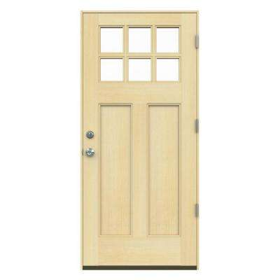 6 Lite Craftsman Unfinished Hemlock Prehung Front Door with Unfinished AuraLast Jamb