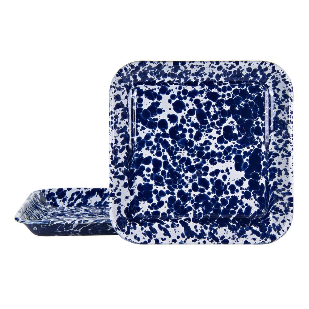 10.5 in. Cobalt Swirl Enamelware Square Plates (Set of 2)