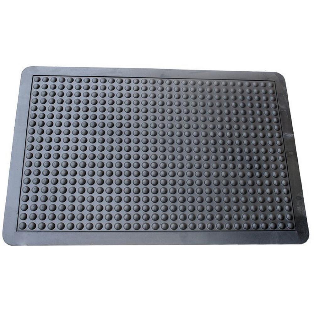 Black 2 ft. x 3 ft. Rubber Anti Fatigue Mat