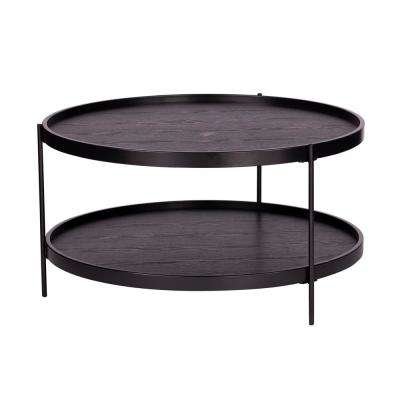 Garcia Black Round Farmhouse Style Coffee Table