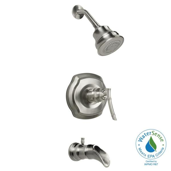 Glacier Bay Bamboo Single-Handle 3-Spray Tub and Shower Faucet in Brushed Nickel
