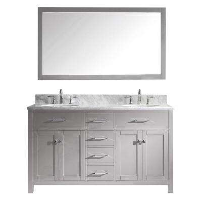 Caroline 60 in. W x 22 in. D Vanity in Cashmere Grey with Marble Vanity Top in White with White Basin and Mirror