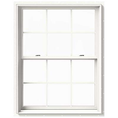 37.375 in. x 48 in. W-2500 Series White Painted Clad Wood Double Hung Window w/ Natural Interior and Screen