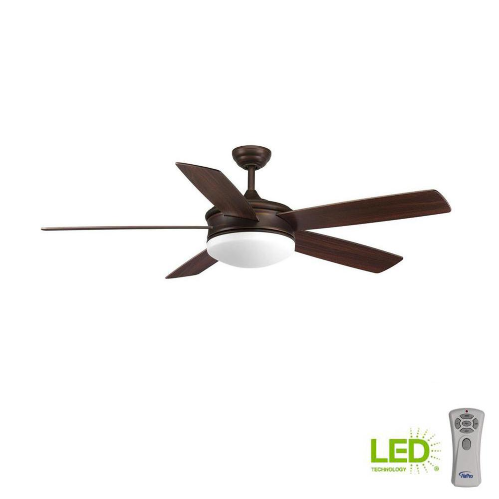 Progress Lighting Fresno Collection 60 in. LED Indoor Antique Bronze Industrial Ceiling Fan with Light Kit and Remote