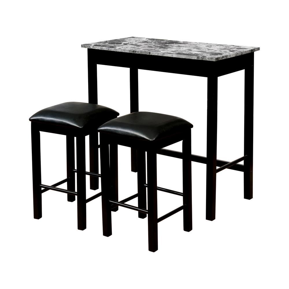 Reta 3-Piece Gray and Black Counter Height Table Set