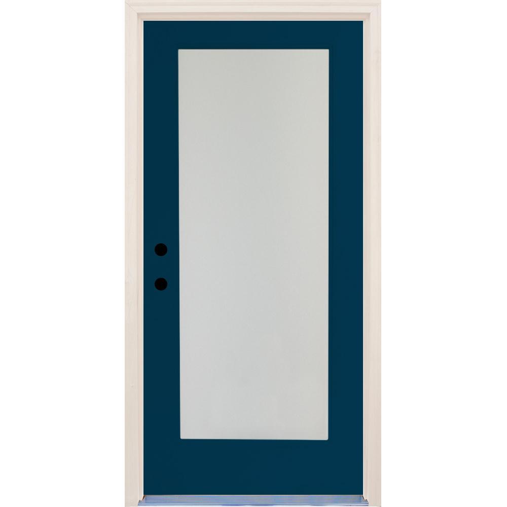 36 in. x 80 in. Elite Atlantis Full Lite Satin Etch Glass Contemporary Painted Fiberglass Prehung Front Door
