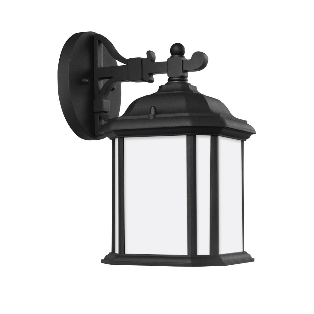 Sea Gull Lighting Kent 1-Light Black Outdoor 11.5 in. Wall Lantern Sconce with LED Bulb