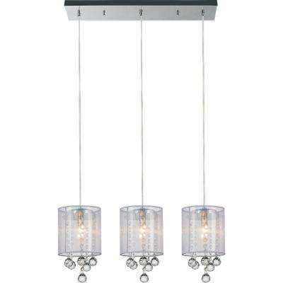Radiant 3-Light Chrome Chandelier with White shade