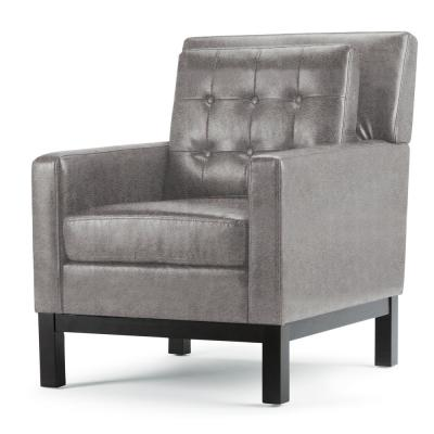 Carrigan 28 in. Wide Contemporary Club Chair in Distressed Charcoal Faux Air Leather