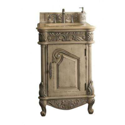 Monte Carlo 24 in. W Single Vanity in Empire Linen with Marble Vanity Top in Galala Beige with White Basin