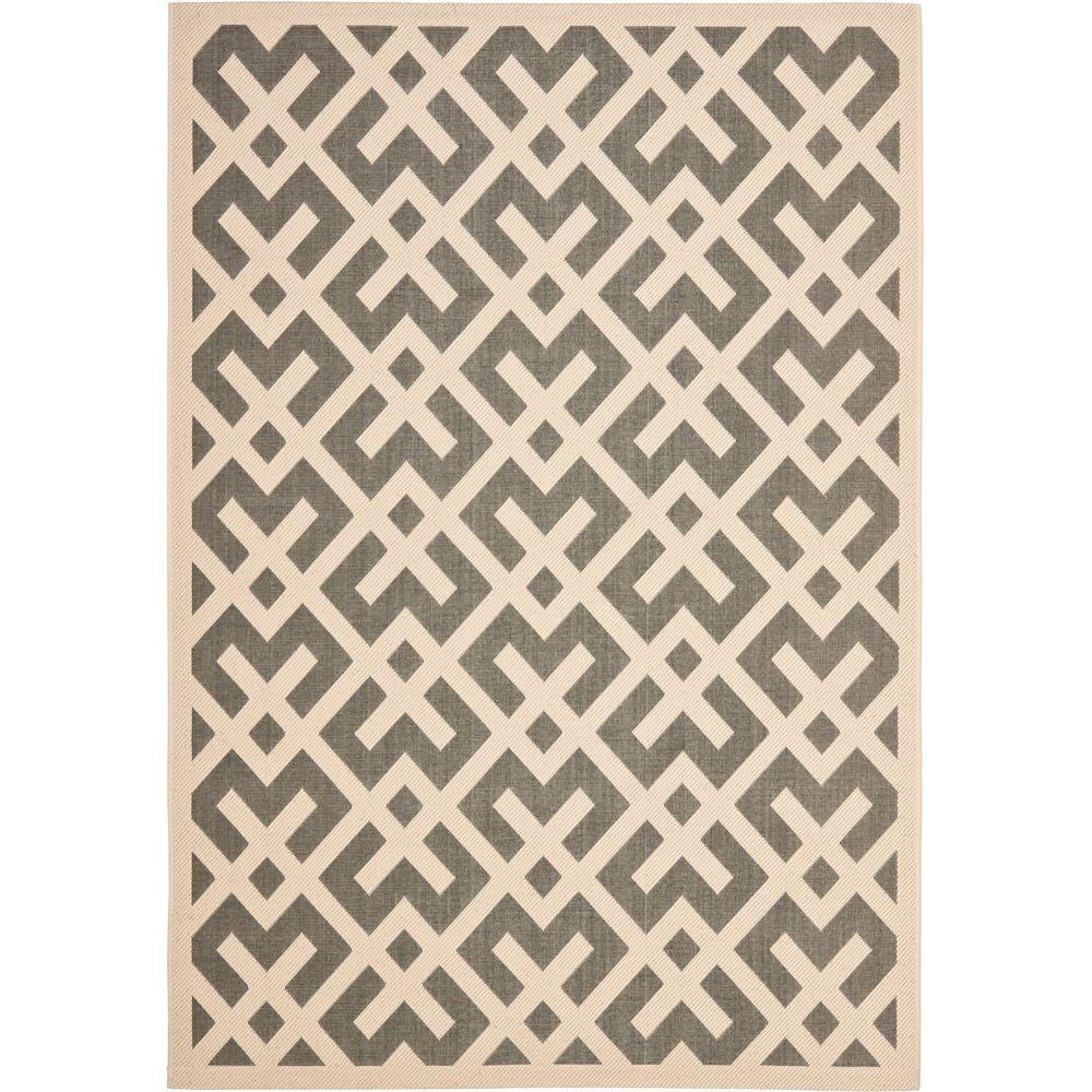 Courtyard Gray/Bone 9 ft. x 12 ft. Indoor/Outdoor Area Rug