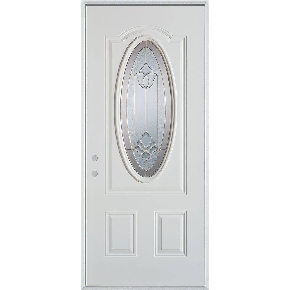 Stanley Doors 36 in. x 80 in. Traditional Brass 3/4 Oval Lite 2-Panel Prefinished White Right-Hand Inswing Steel Prehung Front Door