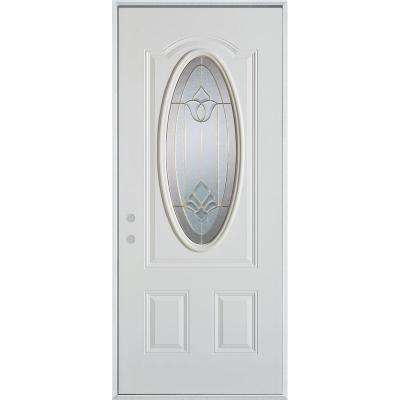 36 in. x 80 in. Traditional Brass 3/4 Oval Lite 2-Panel Prefinished White Right-Hand Inswing Steel Prehung Front Door