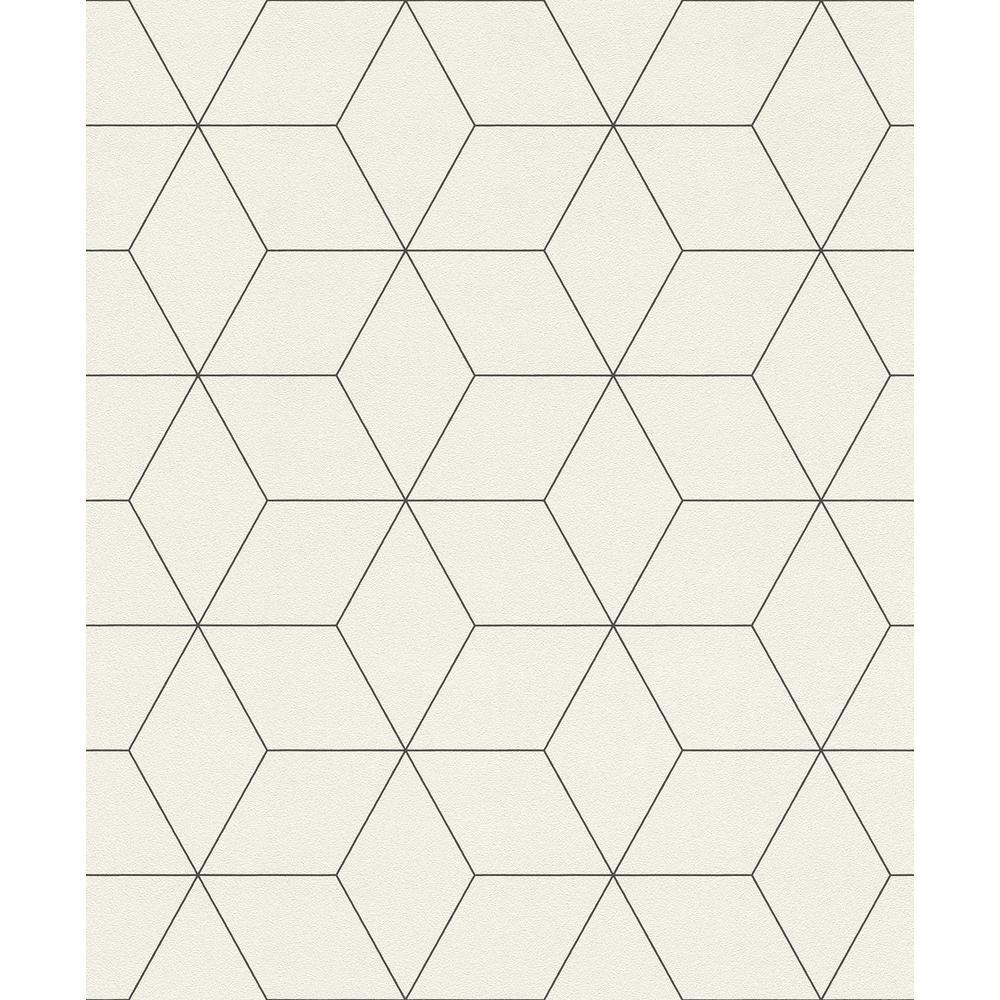 8 in. x 10 in. Lloyd Off-White Geometric Wallpaper Sample