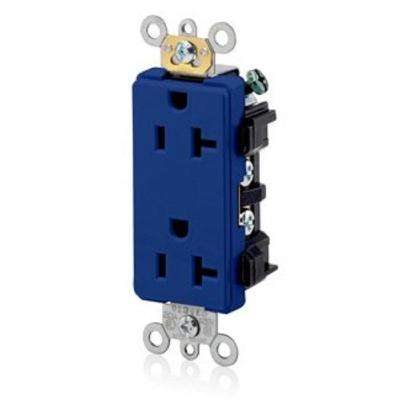 Decora Plus 20 Amp Commercial Grade Self Grounding Duplex Outlet, Blue